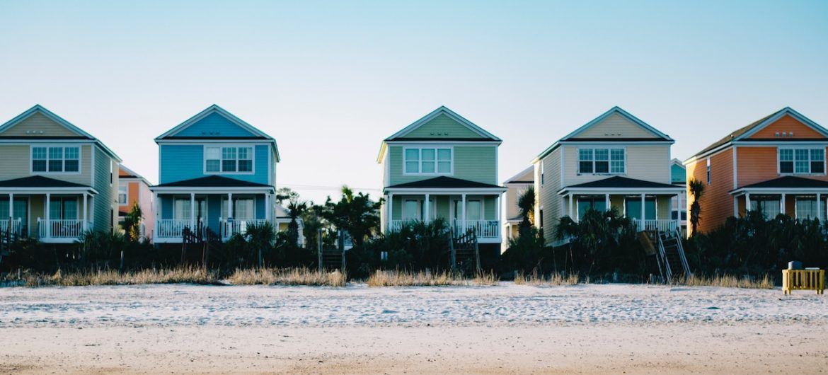 line of houses on the beach
